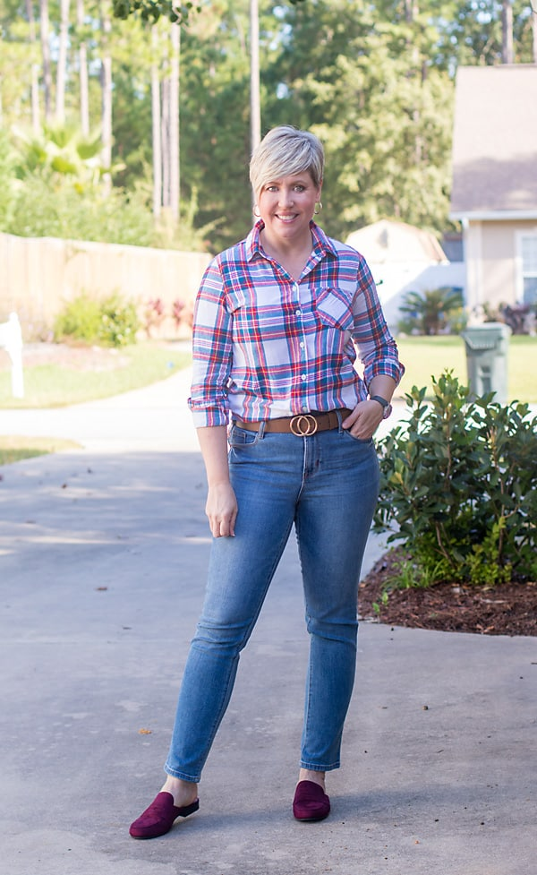 straight leg jean with flannel shirt