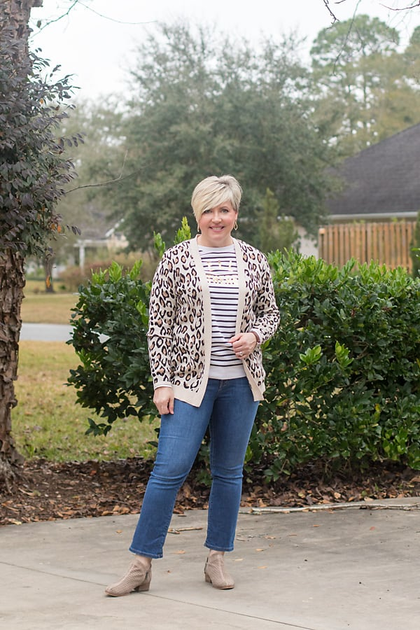 leopard print cardigan with jeans and sweatshirt