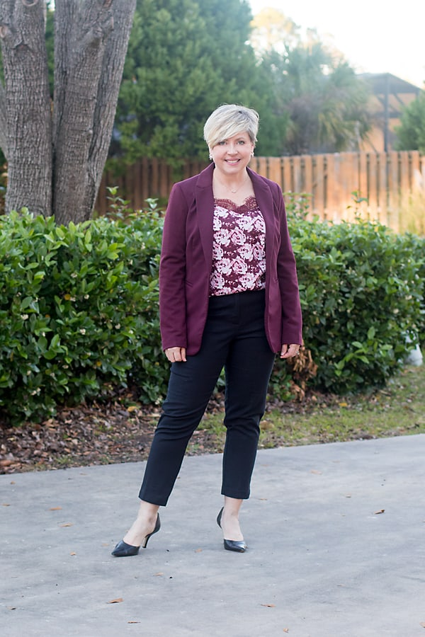 cami and blazer office outfit