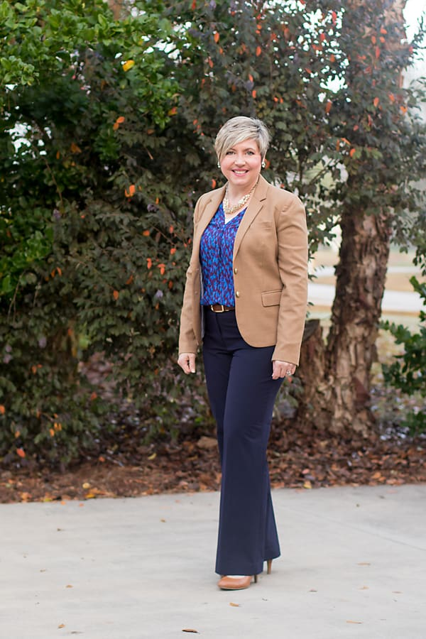 camel blazer with navy pants