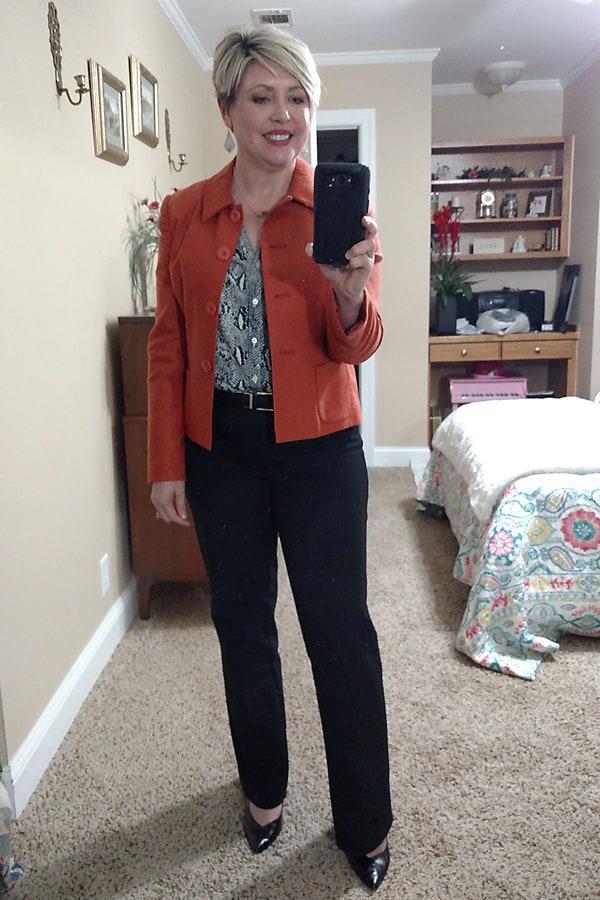 snakeskin print blouse for work wear
