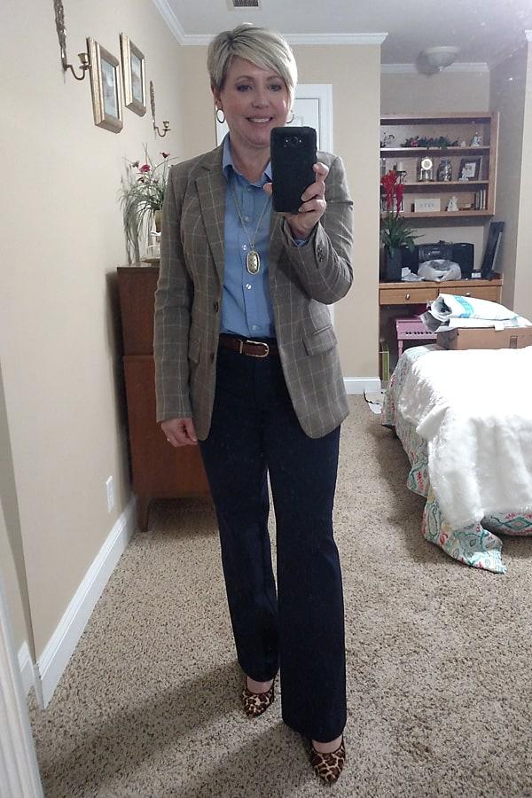 plaid blazer work wear for women