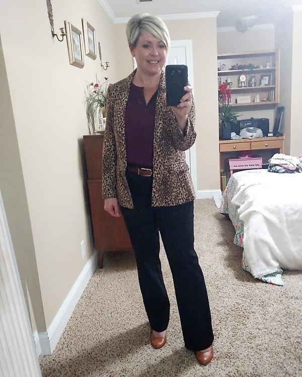 leopard blazer work wear outfit