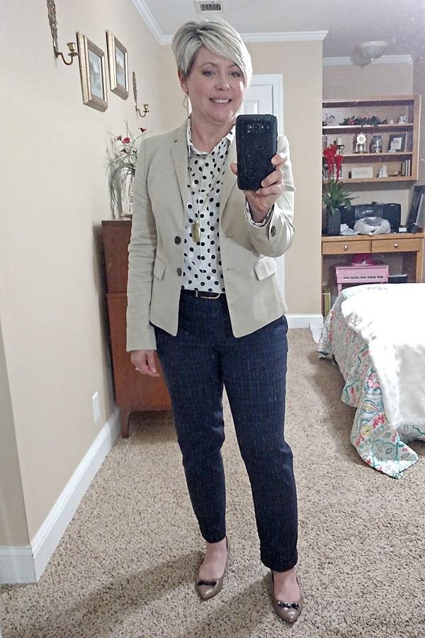 khaki blazer work wear