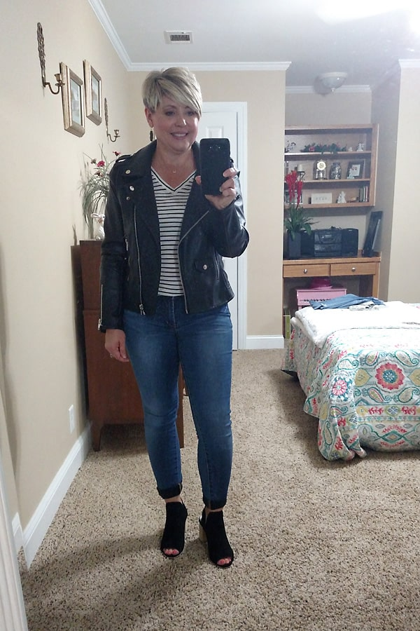 moto jacket with striped tee fall jacket outfit