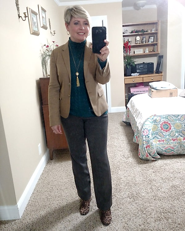 winter work wear with camel blazer