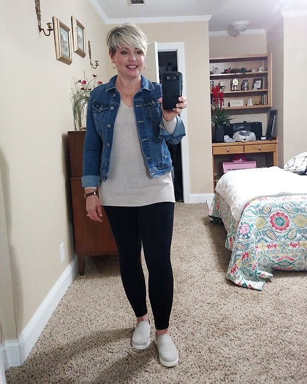 Friday favorites- denim jacket and sneakers outfit