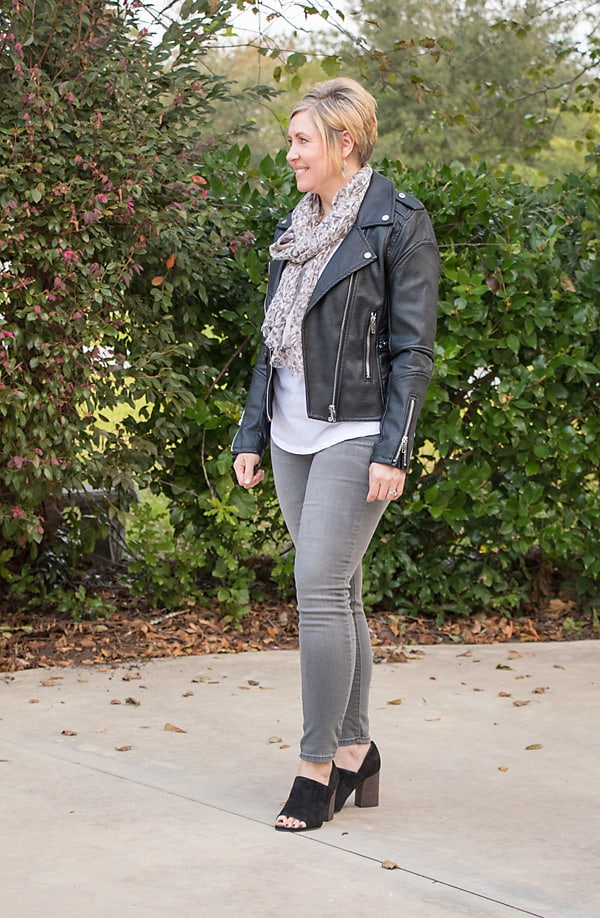 moto jacket with scarf outfit