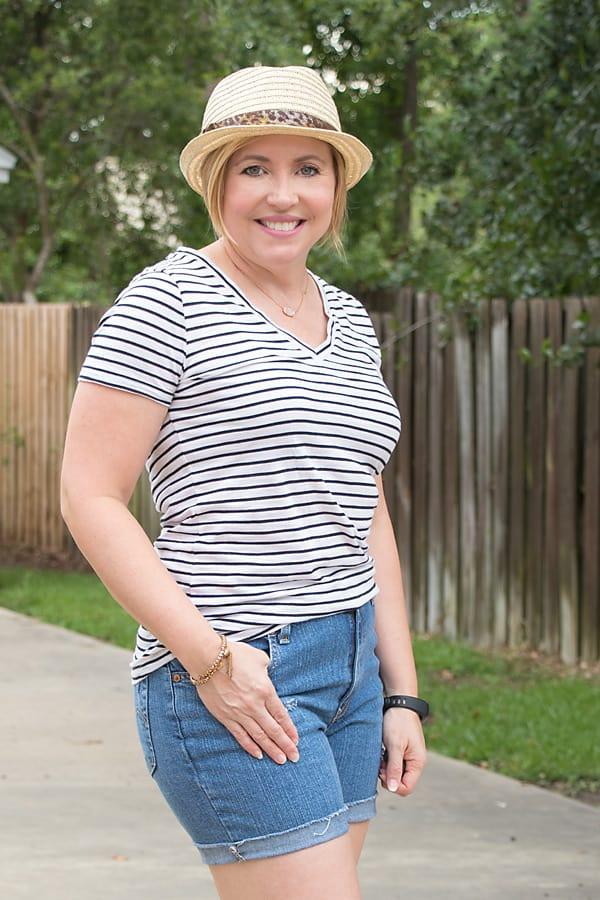 striped vneck tshirt