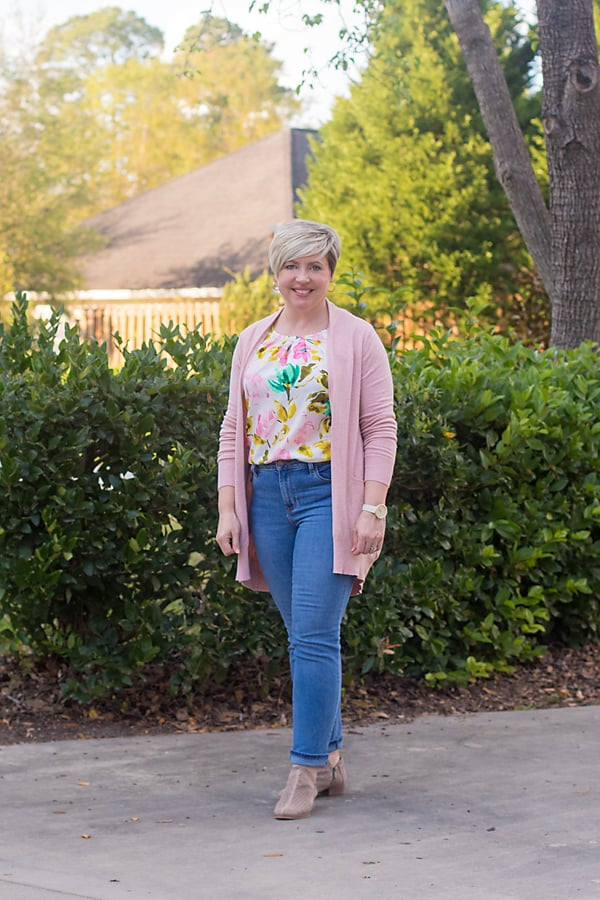 spring outfit with blush cardigan
