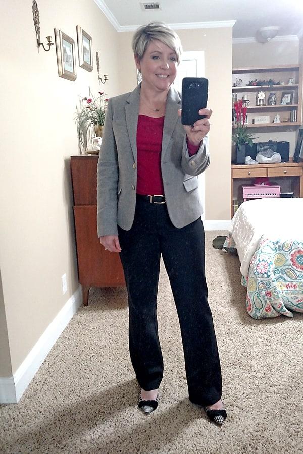 grey JCrew Factory school boy blazer with black pants office outfit