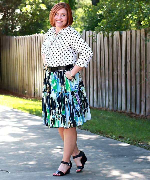 polka dot popover with floral skirt pattern mixing
