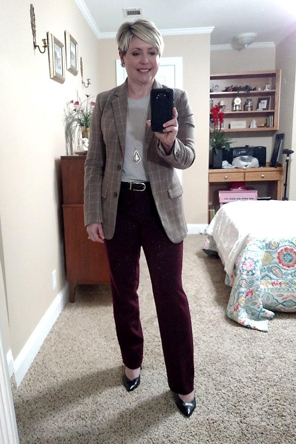 work outfit plaid blazer