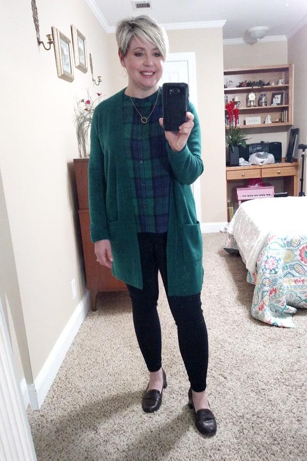 blackwatch plaid top and green cardigan