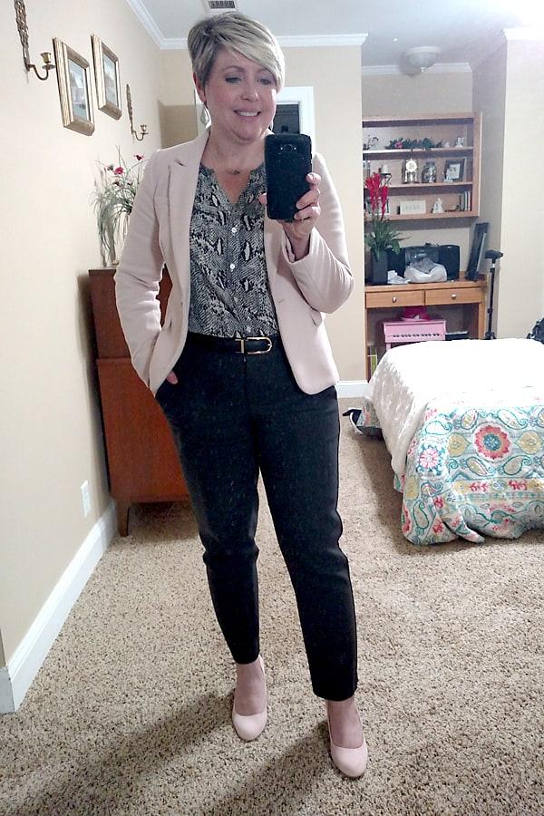 blush blazer office outfit/ blush blazer with snakeskin blouse