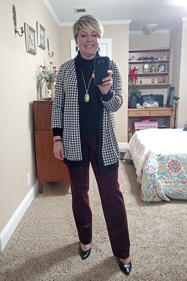 houndstooth cardigan