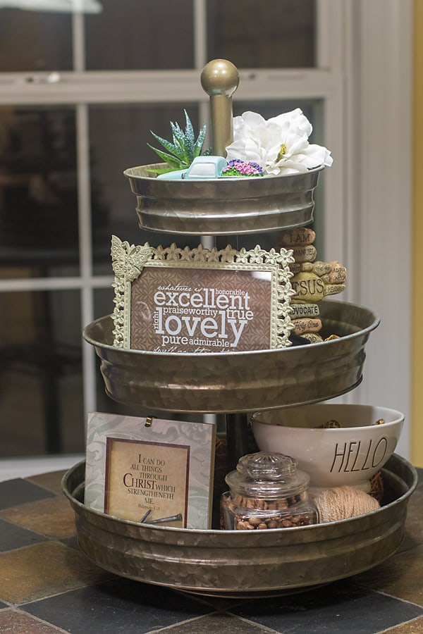 Christian theme tiered tray