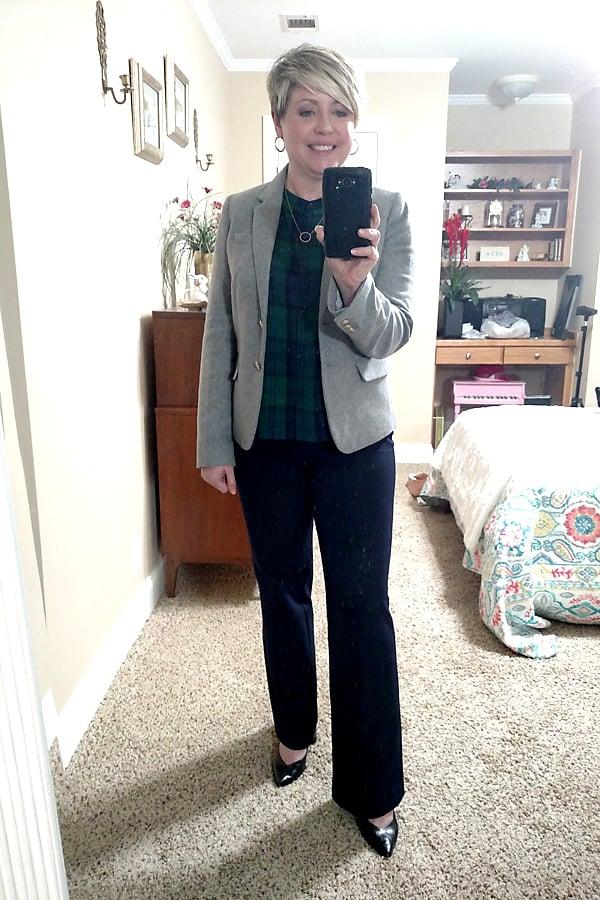 plaid shirt and grey blazer