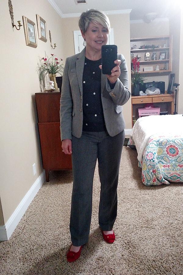 polka dot sweater and grey blazer