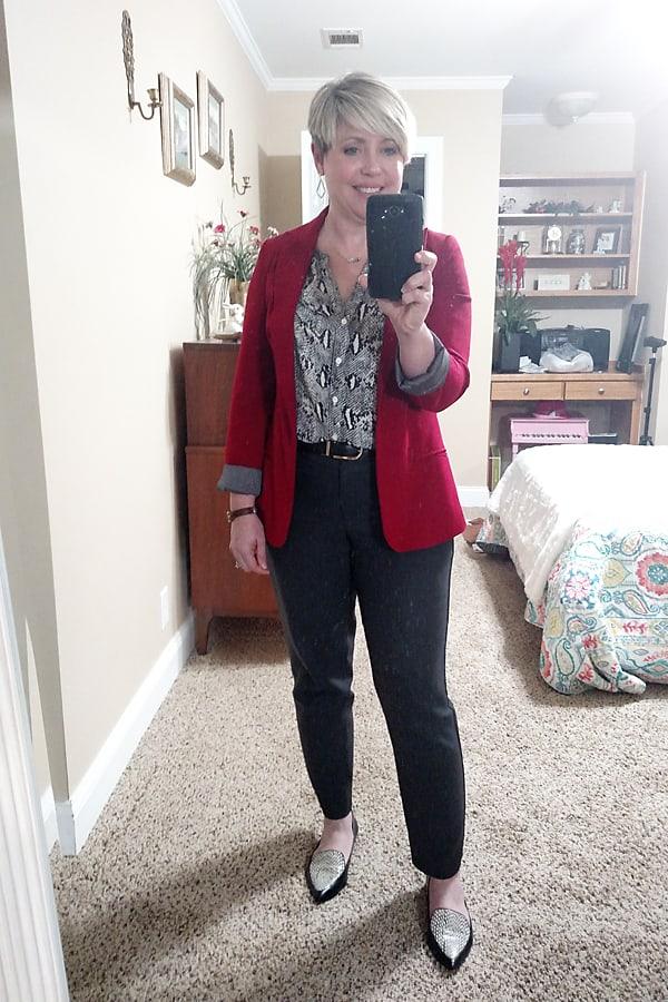 snakeskin top with red blazer