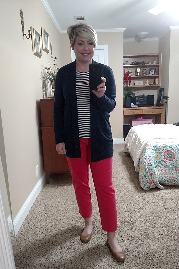 striped top with bright pants/ spring stay at home outfit/ work from home