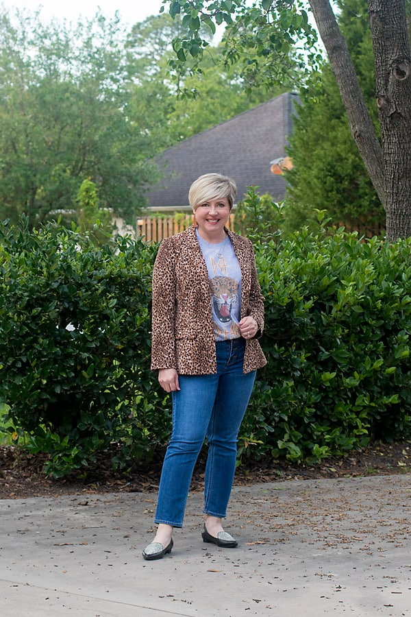 leopard blazer with graphic tee