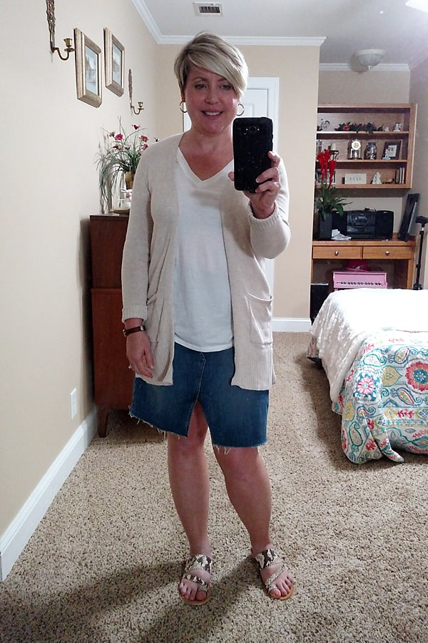 comfortable stay at home outfit, denim pencil skirt