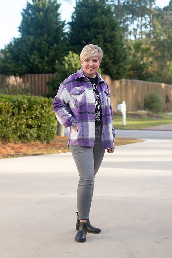 purple plaid shacket shirt jacket with band tee