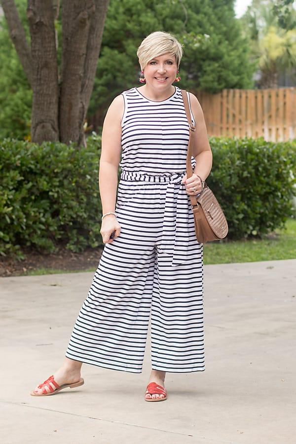 striped jumpsuit, navy stripes