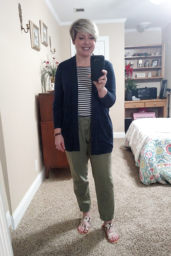 striped shirt with joggers work at home outfit