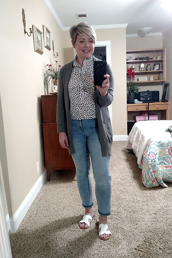 casual work at home cardigan outfit
