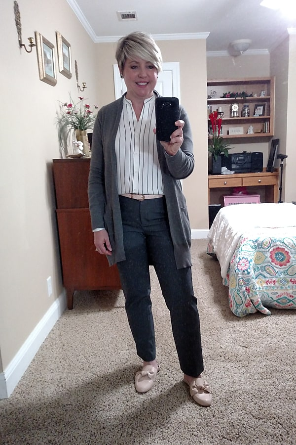 Ann Taylor pants and top office outfit