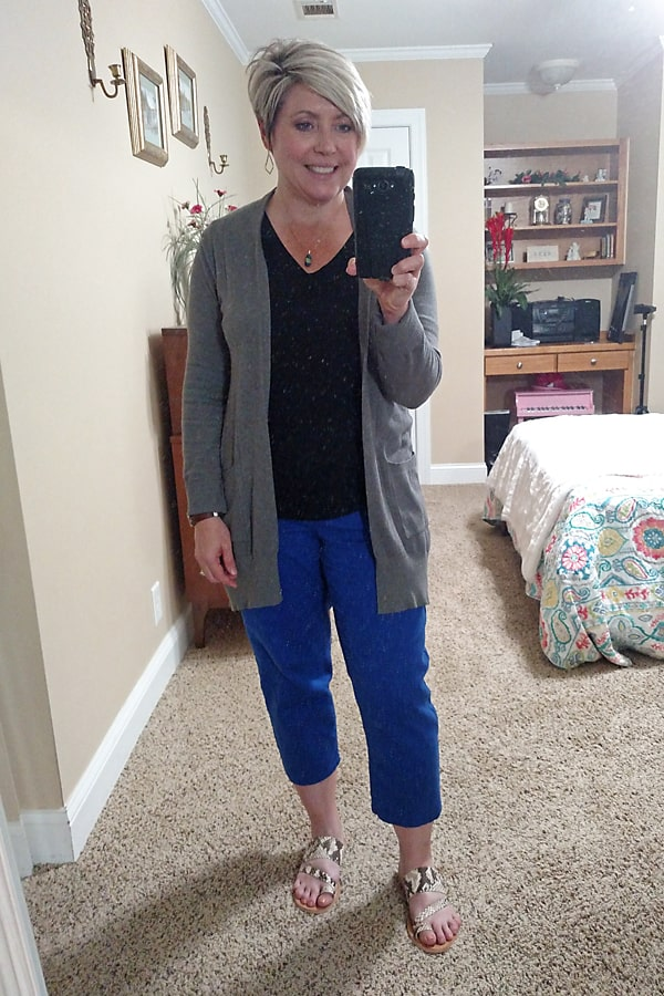 crop pants outfit with cardigan