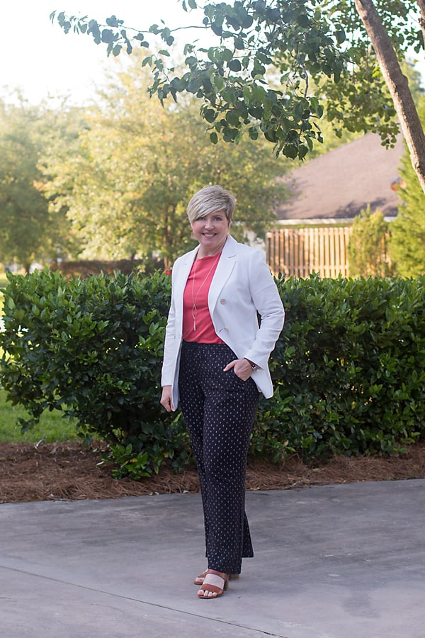 womens spring outfit with white blazer