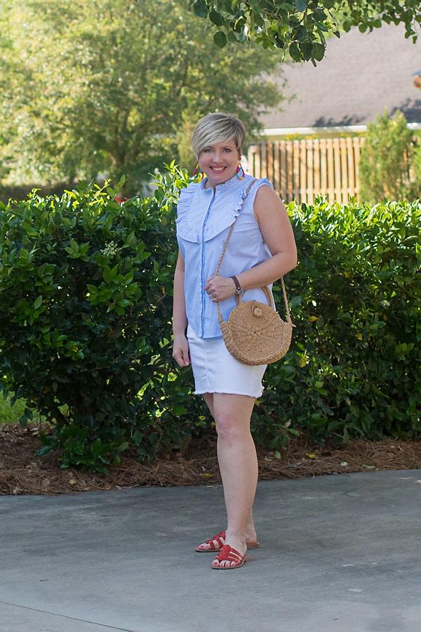 white denim skirt cute Memorial day outfit