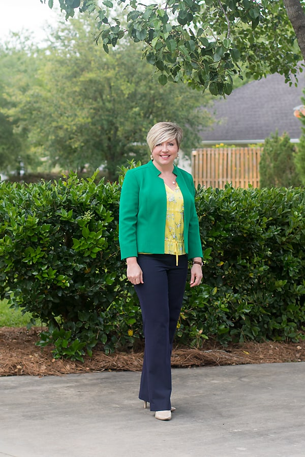 yellow blouse with kelly green blazer