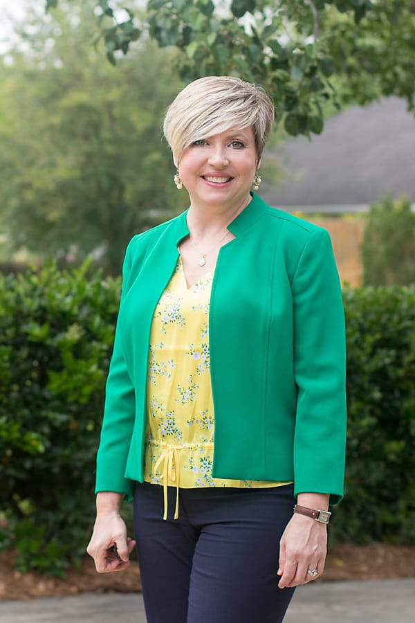 green blazer and yellow top office outfit