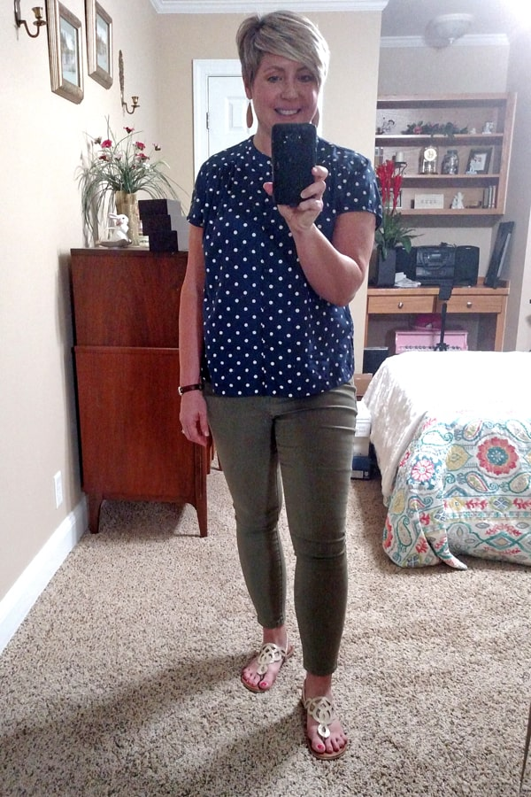 casual work at home outfit with polka dot top