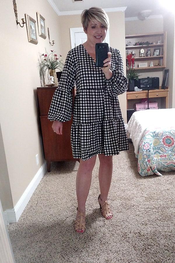lantern sleeve dress in gingham
