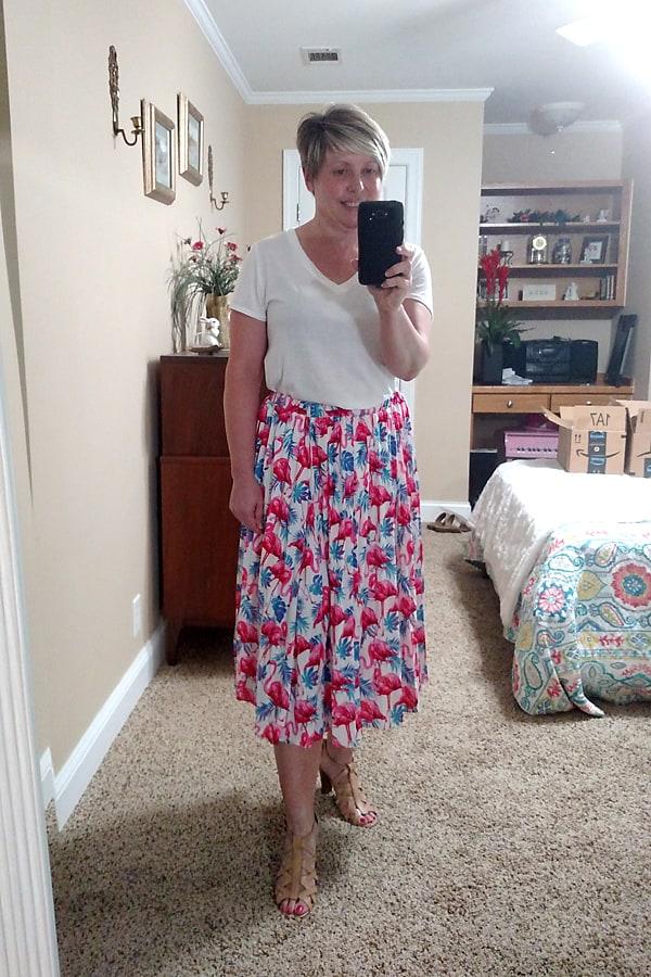 flamingo print summer skirt