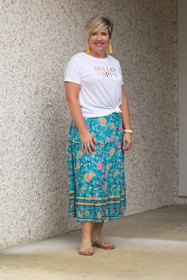 graphic tee and midi skirt