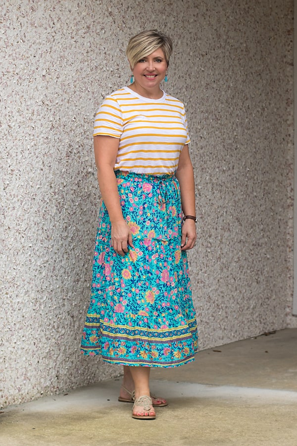 6 ways to wear a midi skirt- with a striped tee