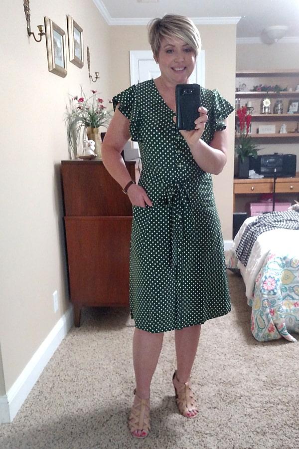 Polka dot flutter sleeve dress