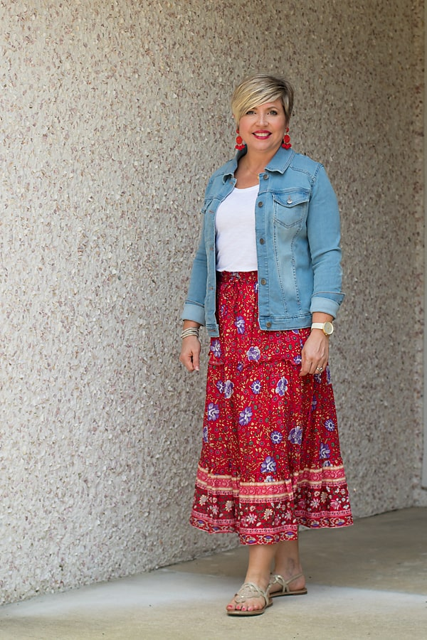 midi skirt with denim jacket red white and blue outfit