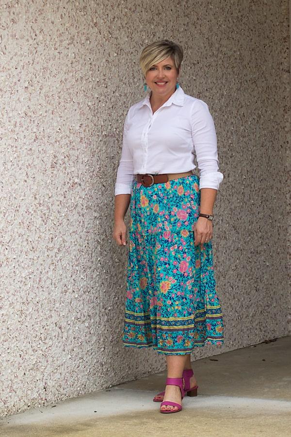 Midi skirt belted