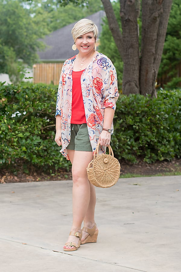 Stay stylish and cool during hot weather with a kimono and tank.