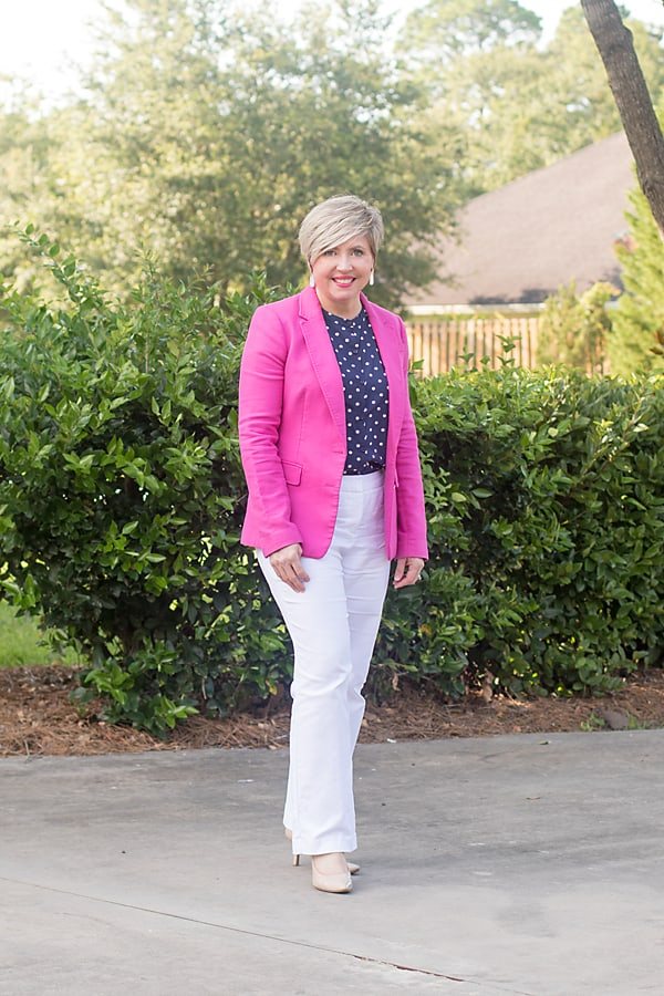 hot pink blazer summer office outfit