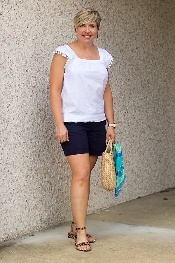 elevated basic top with navy shorts