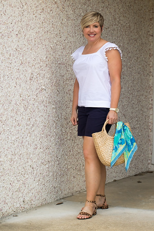 white and navy summer outfit