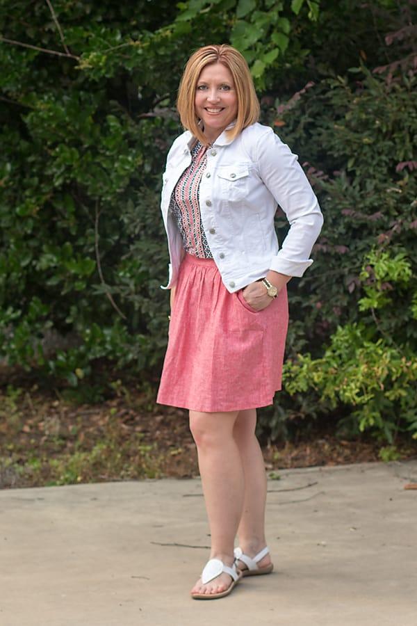 white denim jacket with skirt